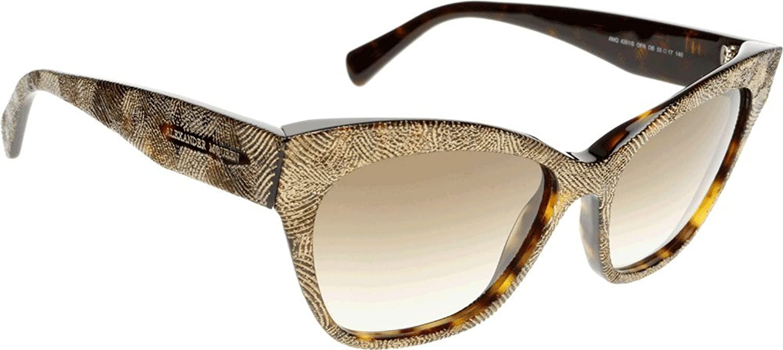 Alexander McQueen Women's AMQ 4261 S Dark Havana gold Brown Gradient 1 Sunglasses