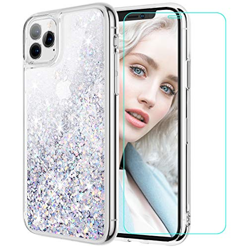 Maxdara Case for iPhone 11 Pro Glitter Case with Screen Protector Girls Women Bling Shiny Sparkle Luxury Pretty Soft TPU Phone Case for iPhone 11 Pro 5.8 inches (Silver)