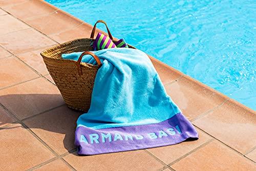 Burrito Blanco Toalla Armand Basi 62 | Toalla Playa | Toalla Piscina | 100% Algodón | Tacto de Terciopelo | Toalla 100x180cm | Color Turquesa