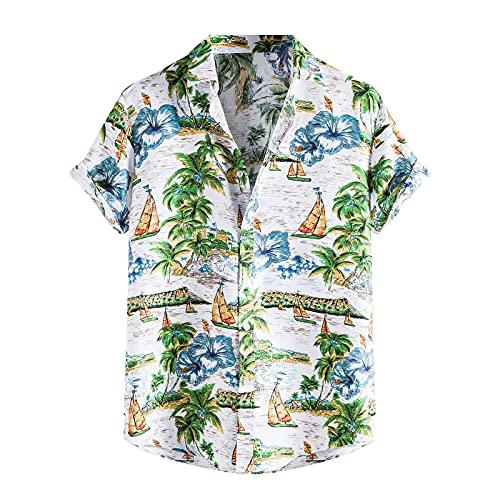 Camisa de hombre a rayas, camisa hawaiana, camisa de manga corta, con botones, cuello vuelto, camisas de playa camisas de ocio E_blanco. XXL