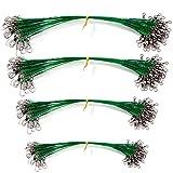 Cable del Líder de Pesca de Acero Líderes de Traza de Alambre de Pesca con Giratorios y Broches de Presión Múltiples Tamaños de Diferentes Líneas de Alambre Anti-Mordedura 15cm 20cm 25cm 30cm