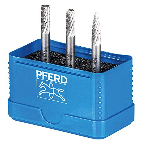 PFERD Juego de fresas HSS 22900810, 3 piezas, dentado 3, diámetro del vástago de 6 mm, universal para acero, fundición de acero y hierro fundido