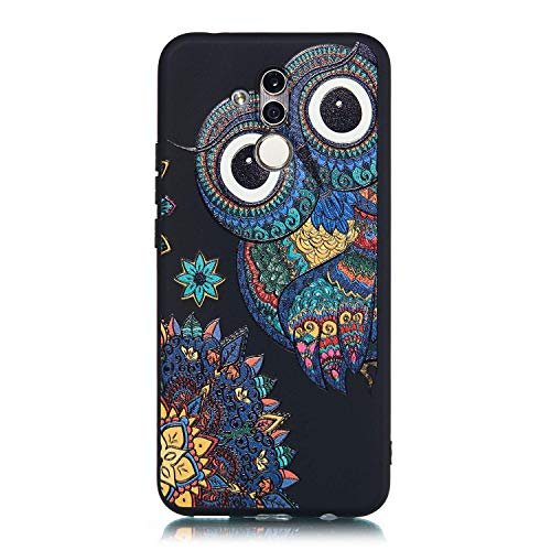 Interesting Owl Case for Huawei Mate 20 Lite, Cute Owl Design Printed Soft Back Cover with TPU Bumper Protective Case Cover for Huawei Mate 20 Lite, Interesting Gifts for All Age