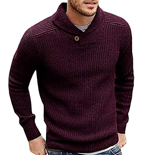 Heren sjaalkraag Slim Fit Gebreide trui truien met lange mouwen Casual truien - Herentrui herfst winter casual gebreide geribde jas onbezorgd Small Bourgondy
