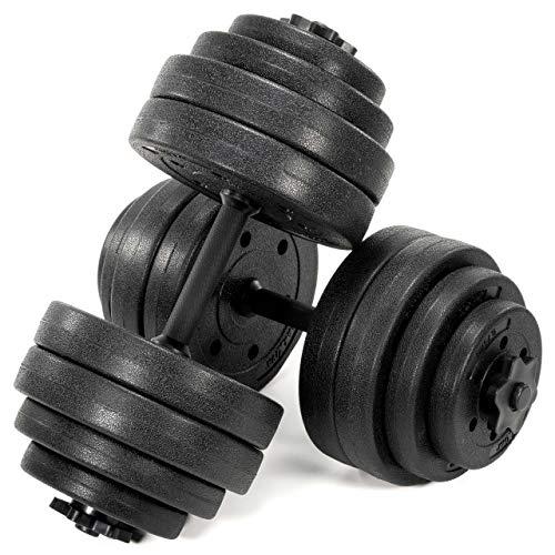 MAXXIVA Kurzhantel-Set Zement 2 x 15 kg 8 Gewichte Sternverschlüsse für Kraftsport Muskelaufbau Workouts Bodybuilding Reha