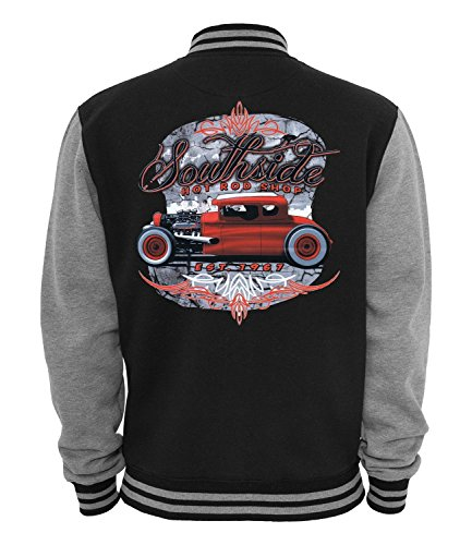 Ethno Designs Southside - Hot Rod College-Jacke für Damen und Herren - Old School Rockabilly Retro Style, navy/sportsgrey, Größe L