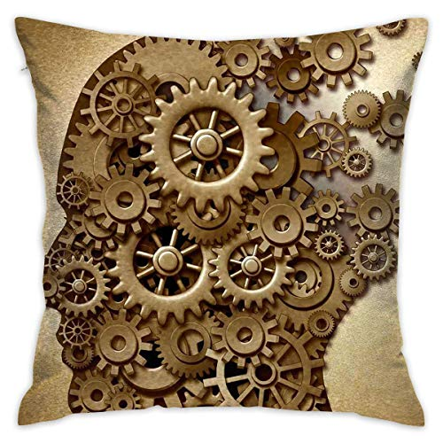 Egoa Couch Cushions Fantasy Gear Brain Soft Double-Sided Printing Couch Cushions Pillow Cover Throw Pillowcase Special 45X45Cm Zipped Cushion Case