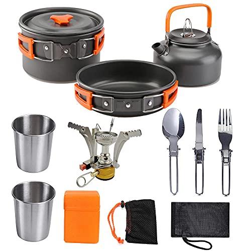 siddons Conjunto de suministros para exteriores tetera combinación portátil camping cocina barbacoa estufa campo equipo + quemador naranja mango
