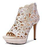 NobleOnly Zapatos de Tacón Mujer Plataforma Cremallera Sandalias Huecos Tacón de Aguja 11CM High Heels Gold Zapatos EU 38