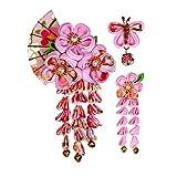 JZOON 髪飾り3点セット 成人式 七五三 浴衣 袴 着物 振袖 和装 つまみ細工 花 卒業式 結婚式 鈴付き 手作り ピンクB 4色全12選