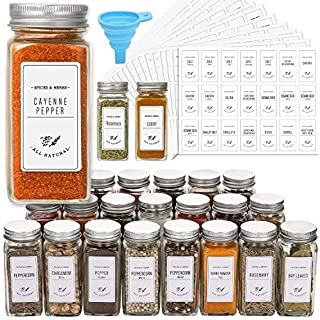 24 Pcs Glass Spice Jars with White Printed Spice Labels - 4oz Empty Square Spice Bottles - Shaker Lids and Airtight Metal ...