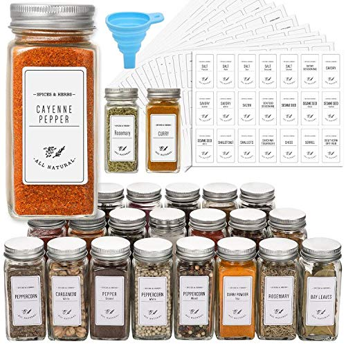 24 Pcs Glass Spice Jars with White Printed Spice Labels - 4oz Empty Square Spice Bottles - Shaker Lids and Airtight Metal Caps - Silicone Collapsible Funnel