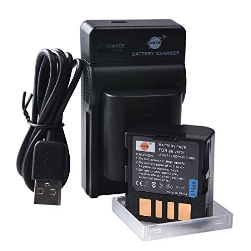 DSTE BN-VF707U - Juego de 2 pilas de ion de litio y cargador micro USB compatible con cámaras JVC GR-D350 GR-D351 GR-D360 GR-D370 GR-D371 GR-D375 GR-D570 GR-D640 GR-D645 como cámara JVC BN-VF707 F714