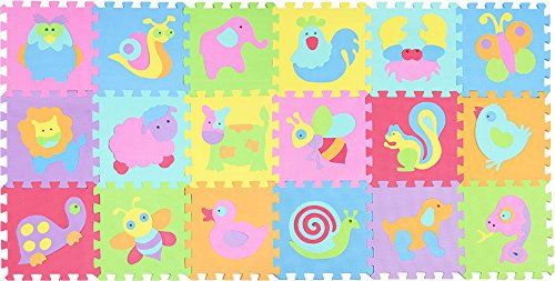 XMTMMD Suelo para Ninos Infantiles EVA Puzzle ColchonetaPara Ninos Y Infantiles EVA Puzzle Colchonetas Puzzle Rompecabezas para Cubrir el Suelo 18 Piezas Play Mat Set AMZP010011G300918