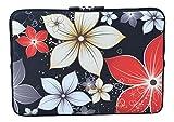 MySleeveDesign Laptoptasche Notebooktasche Sleeve für 10,2 Zoll / 11,6-12,1 Zoll / 13,3 Zoll / 14 Zoll / 15,6 Zoll / 17,3 Zoll - Neopren Schutzhülle mit VERSCH. Designs - Red Flowers [11-12]