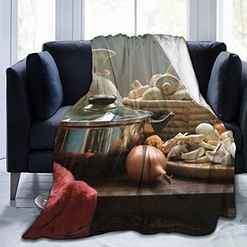 Cap pillow Fleecedecke 127 x 152,4 cm – Meerschweinchen, Nagetiere, Köche, Hüte, Korb, Pilze, Shampoo, Heim, Flanell, Fleece, weich, warm, Plüsch-Überwurf, Decke für Bett/Couch/Sofa/Büro/Camping