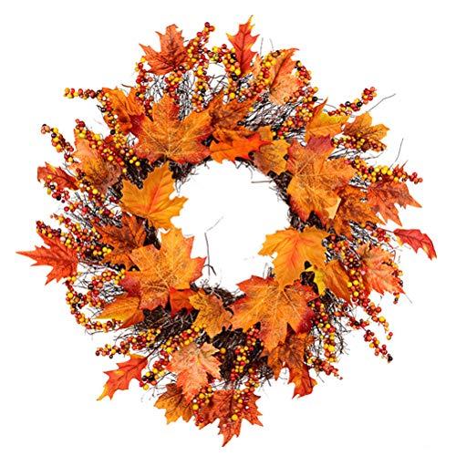 TYTOGE Ghirlanda Autunnale Artificiale, Corona Autunnale, Ghirlanda Decorativa con Foglie d'Acero, Decorazione per la Porta di Halloween