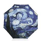 DORRISO Vogue Mujer Paraguas Plegable Mini Paraguas Impermeable Sencillo Cómodo Antiviento Paraguas Viaje Paraguas Cielo Estrellado A