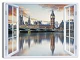 LuxHomeDecor Quadro Finestra Londra 100x75 cm Stampa su Tela con Telaio in Legno Arredamento Arte Arredo Moderno