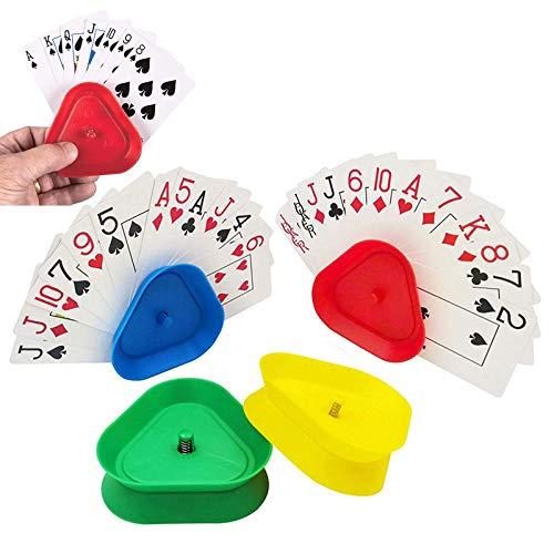 Spielkartenhalter Kinder Kartenspiel Halter 4 Stück Kartenspiel Ohne Hände Kartenhalter Kind Kartenständer Spielkartenständer Dreieck Spielkarten Halter Für Kinder Erwachsene Senioren
