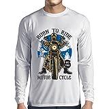 Camiseta de Manga Larga para Hombre Live Young - Die Free - Nacido para Montar en Moto, Ideas de Regalos para Ciclistas, Lemas inspiradores (Large Blanco Multicolor)