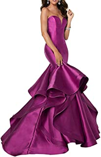 Women's Sweetheart Mermaid Prom Evening Party Dresses Tiered Formal Dress