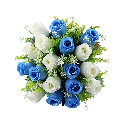 YWLINK 18 BlüTenköPfe KüNstliche Seidenrosen Blumen KüNstliche Blume Brautjungfer Hochzeit Rose Brautstrauß Home Hochzeit Dekor