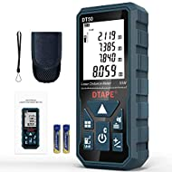 🌟【PRACTICAL FUNCTION+EASY TO USE】 Measuring range 50m/165ft, measurement accuracy: ±1/16 inch; Change four units with a button: m / in / ft / ft + in, 6 display effects: distance, area, volume, Pythagoras (indirect measurement), continuous measuremen...