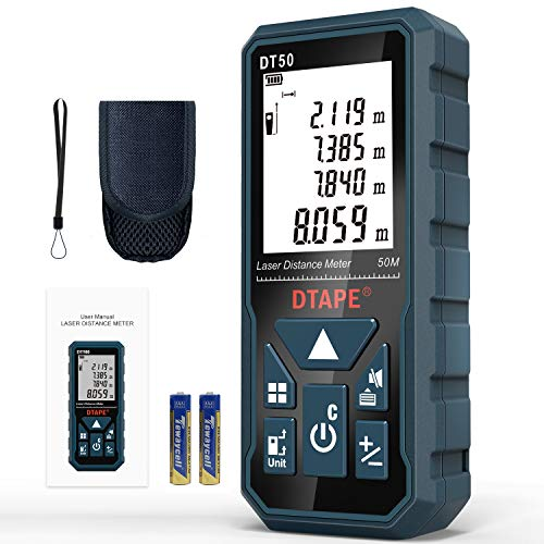 Entfernungsmesser, DTAPE DT50 50M Digitales Laser Entfernungsmesse mit LCD Hintergrundbeleuchtung M/In/Ft mit Mehreren Messmodi wie Pythagoras/Abstand/Fläche/Volumen Messungen,IP54