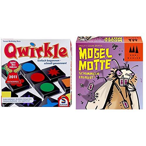 Schmidt Spiele 49311 Qwirkle, Legespiel & 40862 Mogel Motte, DREI Magier Kartenspiel