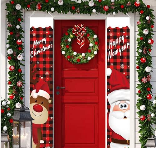 HIMBIU Distico di Natale, Natale distico Porta e Finestra Banner, Distico di Babbo Benvenuto Natale Porta Decor Outdoor Indoor Decorazioni Natalizie (2 Pezzi)