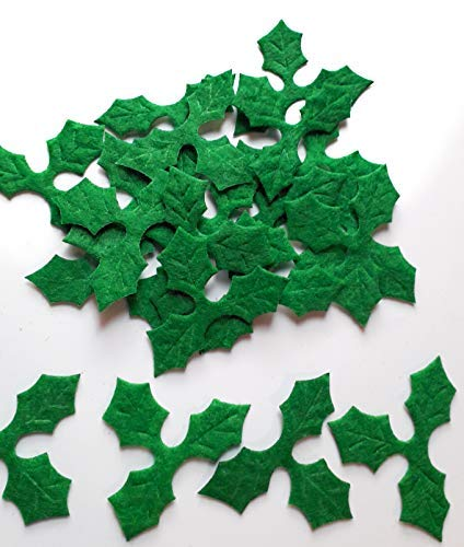 Mini Triple Leaf Holly Felt Embellishments Pack Of 20. Christmas Tag and Card Making,