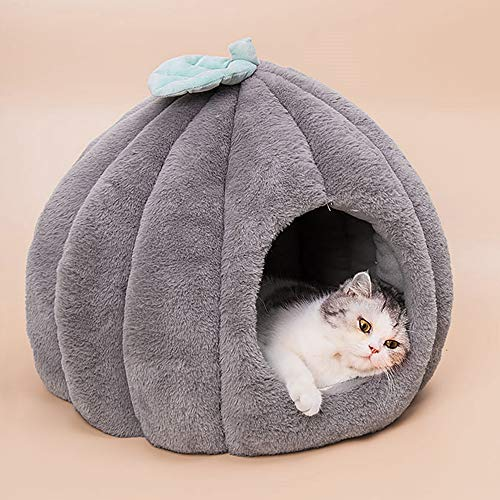 Urijk Katzenhöhlen Katzenbett Kuschelhöhle mit abnehmbar weich Innerkissen Schlafsack Katzenzelt Katzenkorb Tierbett zum Schlafen für Kleine bis Mittlere Größe Katzen (Dunkelgrau,50x50cm)