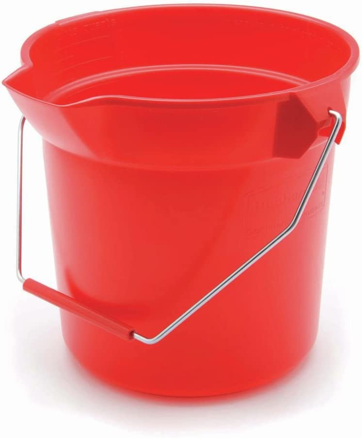 Rubbermaid Inc 296300RED Round Bucket, 10 quarts, Red