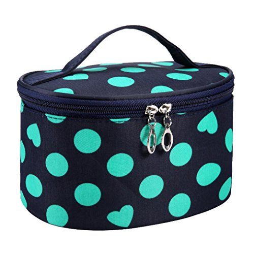 Fulltime® Imperméable Femmes Retro Pro Maquillage Dot Beauty Case Grand Cosmetic Toiletry Bag (GN)