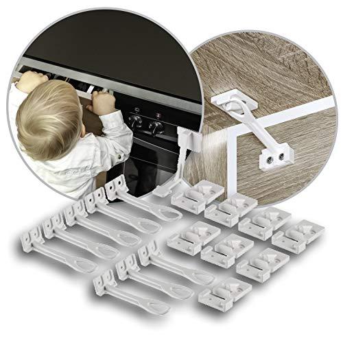 reer 71020 Kindersicherung nach DIN EN 16948, Schrank- und Schubladensicherung, einfache Befestigung mit beiliegender Montagehilfe, Vorteilspack 8 Stück, weiß