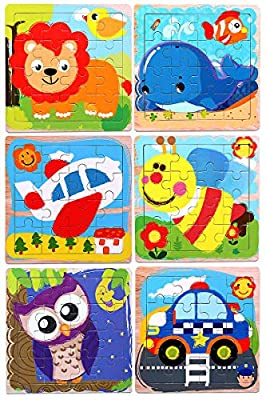 Puzzles for Kids for Ages 3-5, 16 Piece Wooden Animals & Vehicle Kids Educational Puzzles for Toddlers for 2 3 4 5 Year Old, 6 Pack Preschool Puzzles Autism Children Puzzles Set