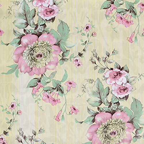 Taogift Vinilo Decorativo Autoadhesivo para Muebles Florales Vintage, Papel Tapiz para estantes, para gabinetes de Cocina, estantes, tocador, cajones, Paredes de tocador (Rosa, 45 x 300 cm)