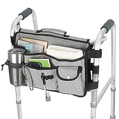 Double Sided Walker Bag, Walker Organizer Pouch Tote for Rollator and Folding Walker Grey