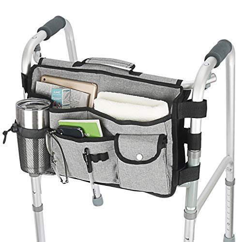 Double Sided Walker Bag, Walker Organizer Pouch Tote for Rollator and Folding Walker Grey (Grey)