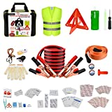 YITAMOTOR Car Emergency Kit 118-PCS First Aid Kit, Premium Roadside Safety Tool with Jumper Cables, Tow Strap, LED Flash Light, Cleansing Wipes, Vest, Bandages Assistance Kits for Vehicle, Truck, SUV