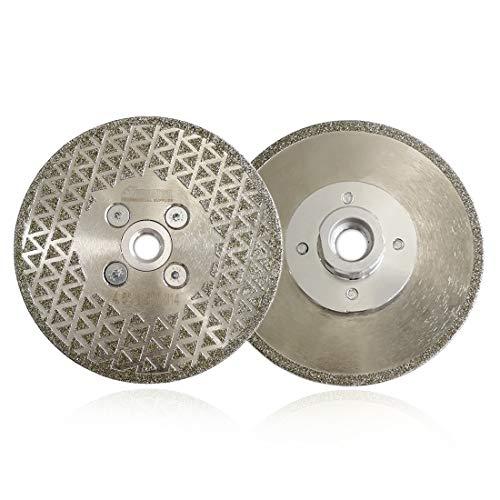 SHDIATOOL Disco Diamante 2 Piezas 115mm Electrochapado Hoja de Sierra para Corte y Esmerilado Piedra Granito Mármol Azulejo
