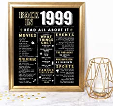 Katie Doodle 22nd Birthday Decorations Anniversary Party Supplies Card Gifts for Her Him Turning 22 Years Old - Includes 8x10 Back in 1999 Sign [Unframed], Black and Gold