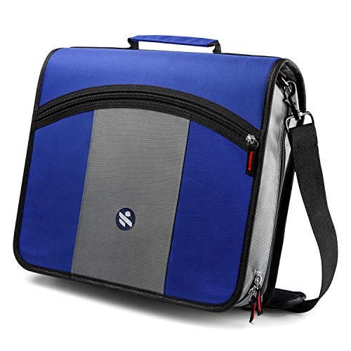 3-Inch 3 Round Rings Zipper File Keeper, Handle and Shoulder Strap Included, Blue