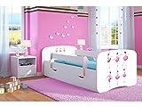 Lit d'Enfant Complet 70x140 80x160 80x180 sommier tiroir barrierères pour Filles garçons lit Simple - Blanc - Danseuse Etoile - 70 x 140 cm (sans Matelas)