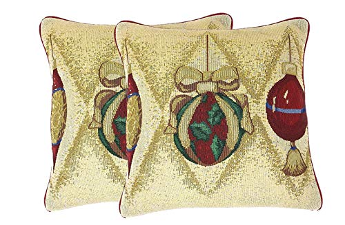"""DaDa Bedding Throw Pillow Covers - Set of 2 Elegant Ornaments Tapestry - Christmas Holiday Festive Cushion Cases - 16' x 16"""" (6139)"""