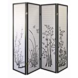 Legacy Decor Black 4 Panel Bamboo Floral Room Divider Screen