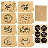 HOWAF Tarjetas de Agradecimiento,24 Paquete de Papel Kraft marrón Tarjeta de Agradecimiento Tarjeta de Agradecimiento Tarjeta de felicitación,24 Kraft Sobres y Pegatinas para Graduación,Navidad