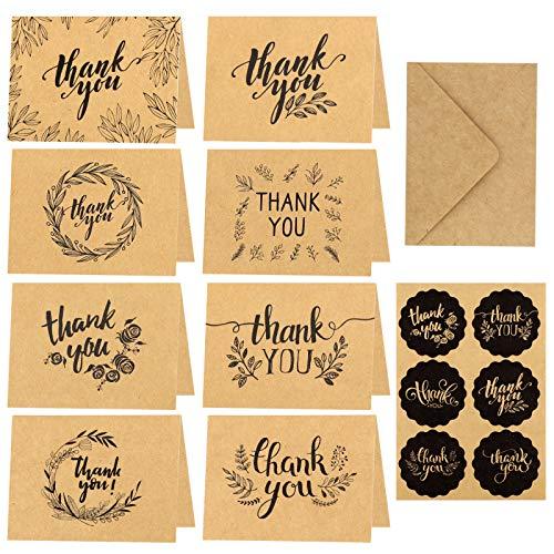 HOWAF Dankeskarten,24 St¨¹ck Braune Papier Dankeskarte Gru?Karten mit Umschlag,Dankekarten Klappkarten f¨¹r Thanksgiving Day Gr¨¹?e, Abschl¨¹sse,Geschenk,15x10cm