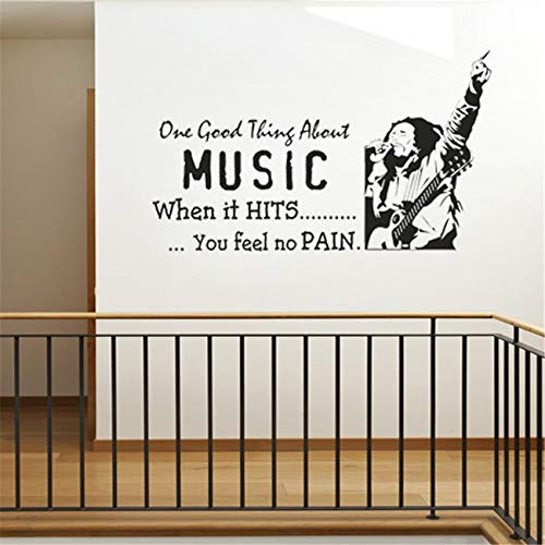 LKJHGU Bob Marley (Bob Marley) Eye Roll Music Singer One Love One Heart Vinilo Tatuajes de Pared Bar Decoración para el hogar Arte Mural 75x132cm
